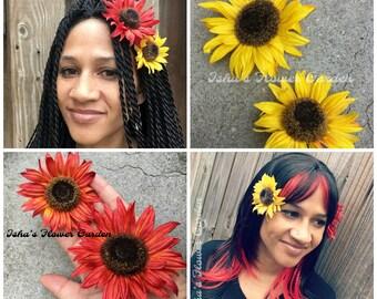 Sunflower hair flower, yellow sunflower hair clip, red sunflower hair clip, sunflower barrette
