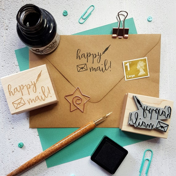 happy mail rubber stamp packaging stamp business stamper small business stationery supplies happy post branding envelope