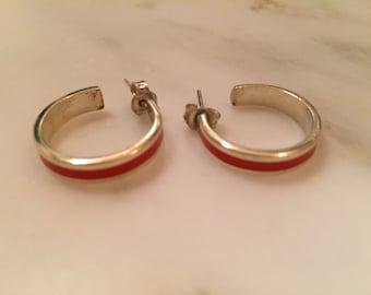 Vintage sterling silver and orange enamel hoop pierced earrings