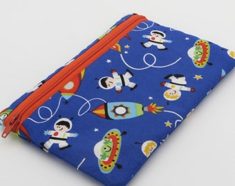 Cotton Zipper Pouch | Fully Waterproofed Lined | Spaceman Spaceship Pattern
