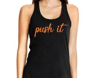 Push it Push it real good fitness tank top orange black navy theory