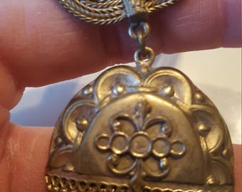 1930s Victorian Repro Brass Necklace Valentine's Gift