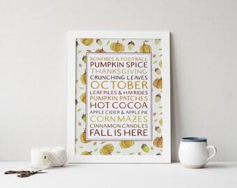 fall subway art printable · fall print · autumn wall decor · fall leaves · autumn decor · pumpkin decor · watercolor acorns · fall wall art