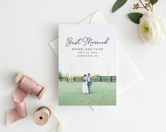 Printable Wedding Announcement Card - Elopement Announcement Card - Marriage Announcement Card - Wedding Photo Template | WA-003