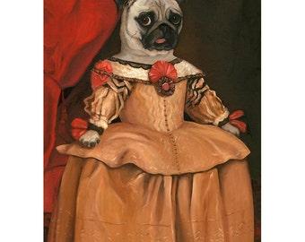 Pug Wall Prints, Canvas Prints, Pug Nursery Print, Pug Gift, Pug Gifts for Girls, Midge Marie