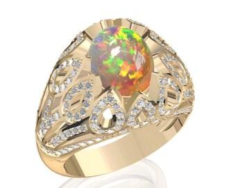 10x8mm Australian Black Opal Ring w/ 0.95ct Diamond in 14K or 18K Gold 2.7TCW Sku: R2424