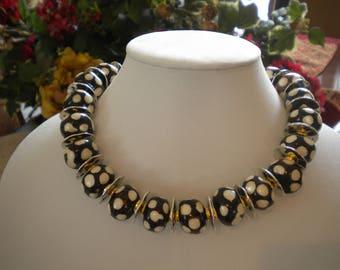 TRIBES-Gorgeous Handcarved African Batik Bone Roundells- Statement Necklace