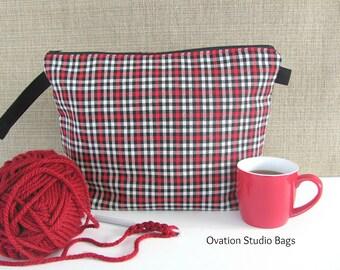 Wedge Knitting Bag, Zipper Knitting Project Bag, Crochet Bag, Plaid Zipper Bag in red, black and white Gift for knitter