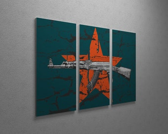 AK-47 Over Red Star Gallery Wrapped Canvas Triptych Print