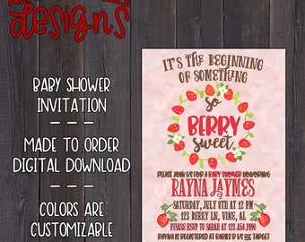 Beginning of Something Berry Sweet | Baby Shower Invitation