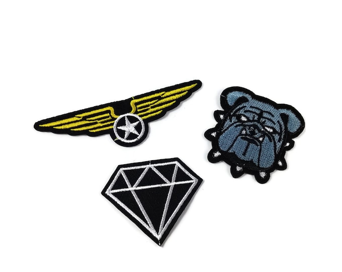 Featured listing image: Sewing-on Patch Cloth Embroidery different styles for choice: Diamond, Bulldog, Aviator Wings