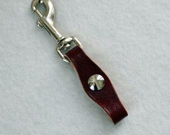 Leather Pocket Watch Fob - dark red