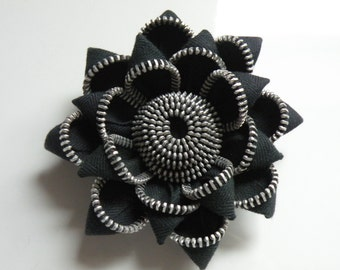 Black Recycled Vintage Zipper Flower Brooch or Hairclip