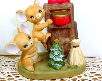 Ceramic Bisque Christmas Mice, Holiday Mouse Decor, Decoration  (544-14)