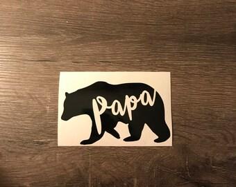 Papa Bear Vinyl Decal, Yeti Decal, Laptop Decal, Cell Phone Sticker, Father Bear