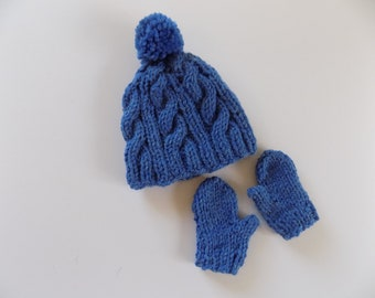 18 Inch Doll Hat and Mittens Set, Blue Doll Hat, Cabled Doll Hat, Knit Doll Mittens, Doll Gloves