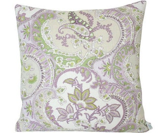 Lilac and Green Pickfair Paisley Designer Pillow Cover- Schumacher fabric