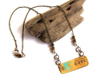 Brass Stamped LOVE Necklace