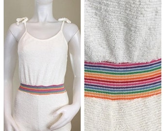 30% Off Sale 80s You Gotta Be Kidding White Terry Rainbow Romper, XS