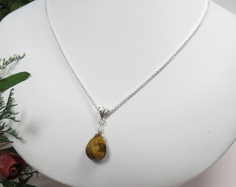 Tiger Eye Pendant Necklace, Gemstone Necklace In Sterling Silver, Brown Gemstone Necklace, Keira's Crystal Creations