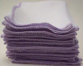 Unpaper Towels - One Dozen Lavender Bordered Birdseye Cotton Napkins