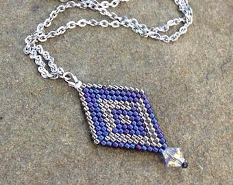 Dragon Scale Necklace in Talon - Purple and Silver Boho Pendant - Elvish Wedding - Purple Elf Cosplay - Purple Dragon Necklace - Bridal Elf