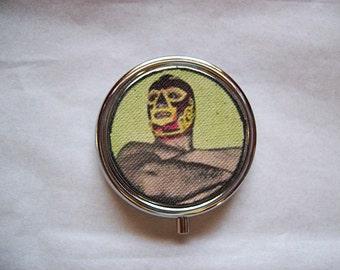 Mexican wrestler pill box retro lucha libre Mexico kitsch vintage pillbox luchador case