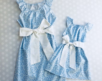Blue Mother Daughter Matching Dresses - Mommy and Me Dresses - Mommy and Me - Mother Daughter Dresses - Handmade - Matching Mother Daughter