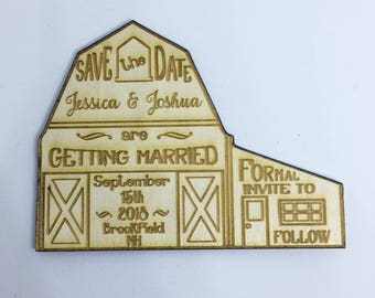 25 Rustic Barn Save the Date Engraved Magnets - save the dates for your wedding - engraved in wood