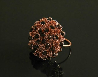 Copper ring, copper jewelry, copper, wire, wood, ring, jewelry, unique jewelry, natural jewelry, wire crochet, handmade jewelry