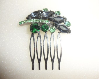 Authentic Vintage Two  Greens and Blue Rhinestone Silver Hair Combs