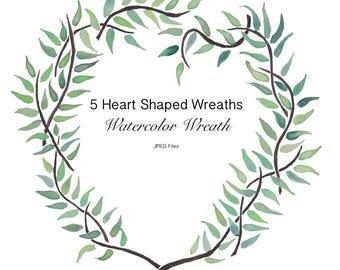 Watercolor Heart Shaped Leaf Wreath/Watercolor Digital Print/ Digital Photo/Green Watercolor/Watercolor clipart