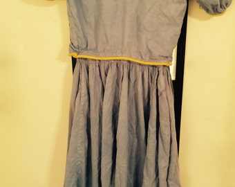 PRIMITIVE Hand sewn Cotton Dress, Blue and Yellow