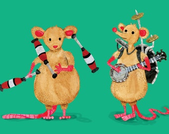 Street Performing Mice - A6 Card