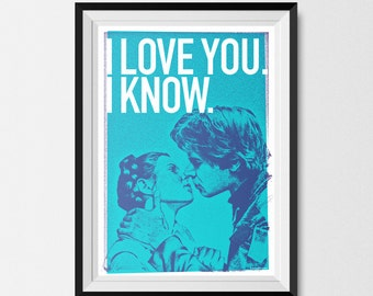 Star Wars, Print, Inspired, Print, Hand and Leia, Kiss  BLUE, Star Wars Print, Star Wars Poster