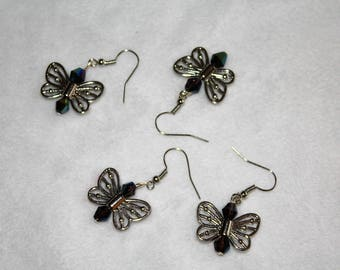 Blue Crystal Butterfly Earrings 1 inch