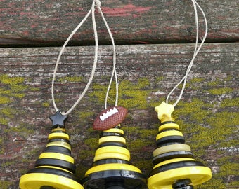 Football Black & Yellow Button Christmas Tree Ornaments ~ Pittsburgh Steelers colors ~ Set of 3