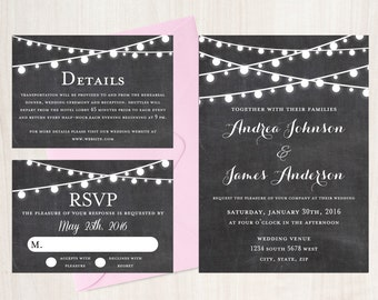 Chalkboard Wedding Invitation String Lights Rustic Wedding
