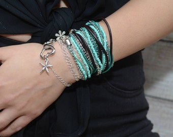 Women's Leather Wrap Bracelet, Leather Wrap Bracelet, Womens Wrap Bracelet, Brown Leather Bracelet, Boho Jewelry, Bohemian Fashion, Handmade