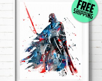 Star Wars Darth Vader print, Star Wars print, Darth Vader poster, Star Wars wall art, Darth Vader watercolor art, abstract, [344] home décor