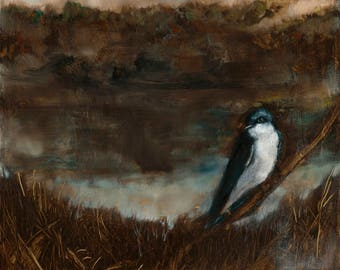 Bird Wall Art, Bird Print, Large Wall Art, Tree Swallow Painting