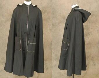 vintage 70s Hooded Cape - 1970s Black Rain Cape Twill Poncho Cloak Sz M