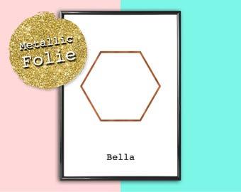 Personalized image Hexagon | Metallic foil