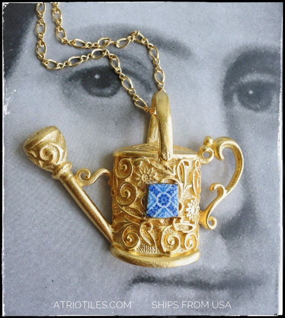 Necklace Blue Tile Watering Can Portugal Antique Azulejo Gardening - Ovar (see photo)  - Gift Box Included - 14k gold plated chain