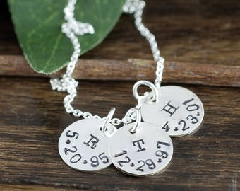 Personalized Initial Necklace, Silver Initial and Date Necklace, Hand Stamped Jewelry, Gift for her, Mother's Day Necklace, Gift for Mom