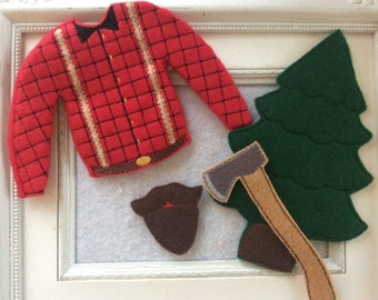 Wood chopper oufit for one of Santa's elves 4 pieces