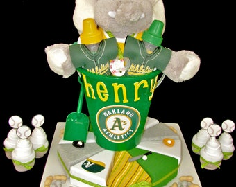 Onesie Cake, Oakland A's theme Baby Shower Gift with Sock Cupcakes