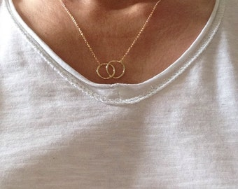 Gold plated rings necklace