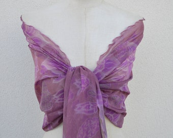 Elegant purple shawl, pink shawl, Heather, pink stole shawl stole bridesmaid, printed purple flower