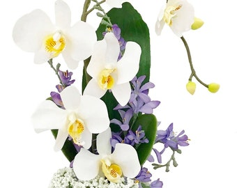 White, Phalaenopsis, Orchid, #5, Silk Orchid Arrangement, Silk Flower Arrangement, Artificial Flower Arrangement, Handmade, Home Decor, Gift
